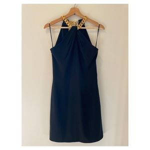 Gillian black cocktail dress with gold neck band